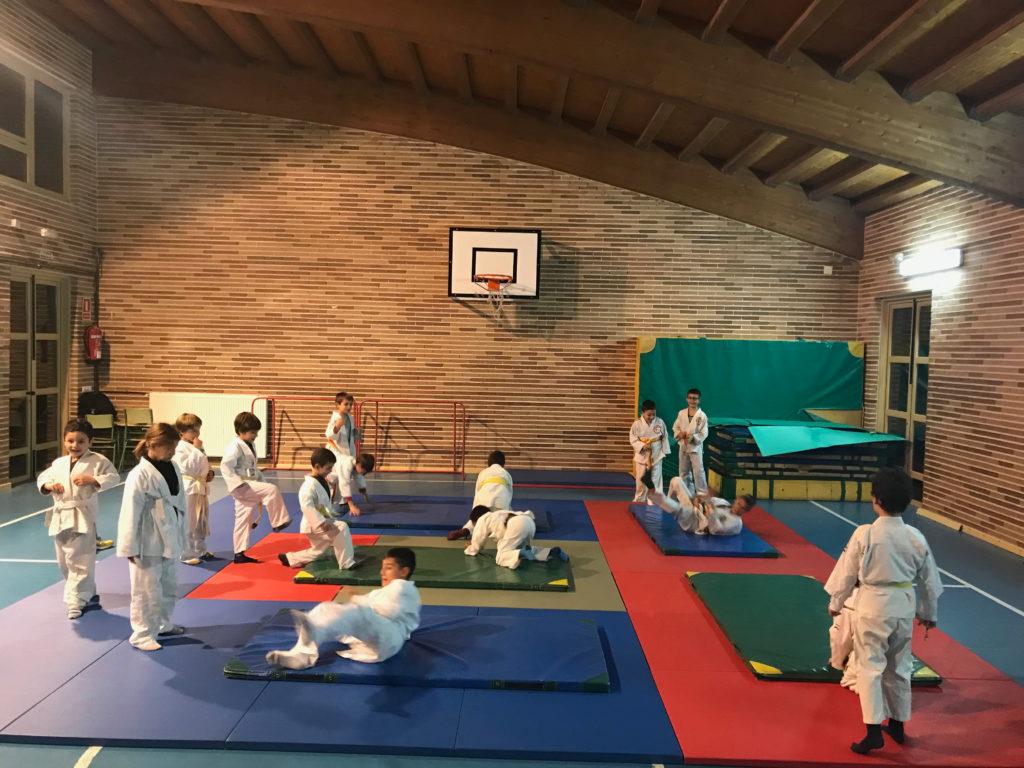 alumnos practicando las caídas de Judo en Cabrerizos